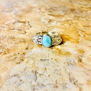 Vintage Sterling Silver Larimar Stone 925 Ring